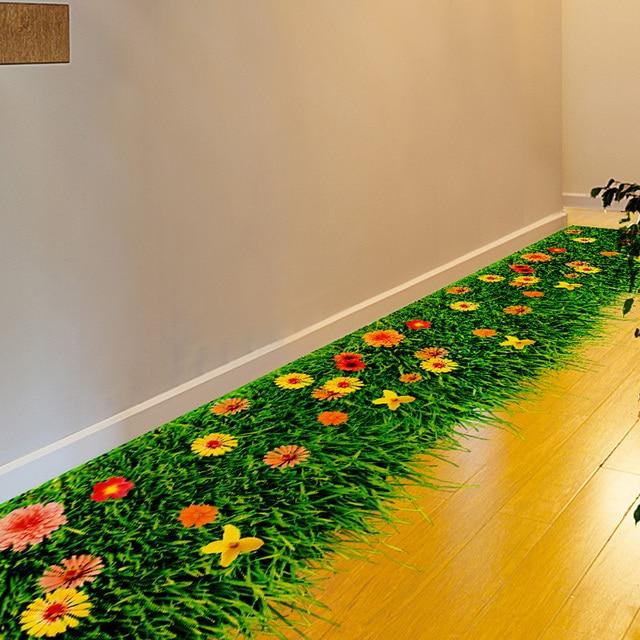 Shijuehezi Blume Rasen 3d Boden Aufkleber Pvc Material Diy Home