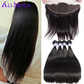 8A Malaysian Straight Virgin Hair 3/4 Bundles With Lace Frontal Closure Malaysian Virgin Hair Straight Human Hair Lace Frontal