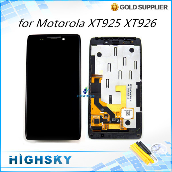 1 piece free shipping complete screen for Motorola Droid RAZR HD XT925 XT926 lcd dispaly + touch digitizer + frame