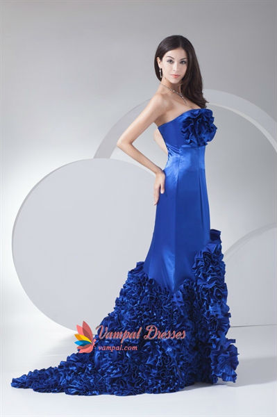 Royal Blue Prom Dresses With Flowers On Bottom,Royal Blue Prom ...