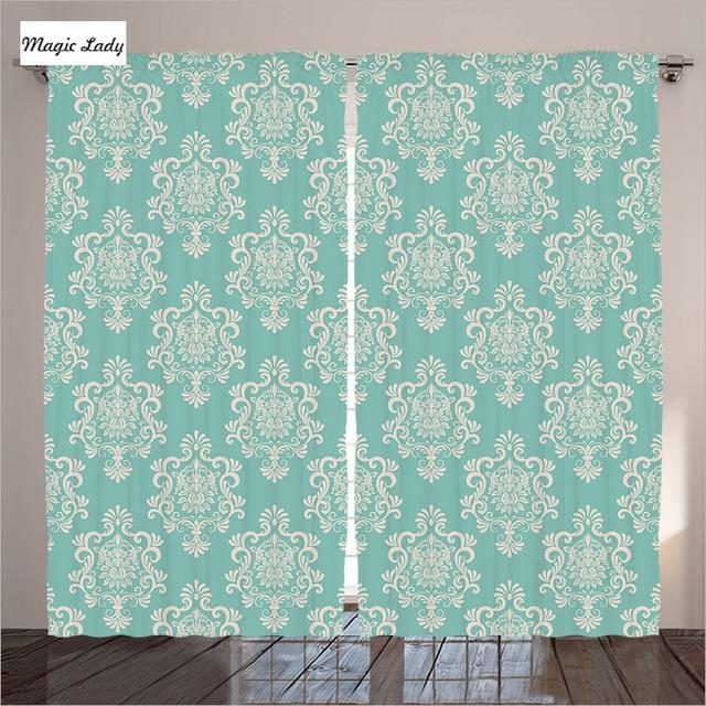 damast stof gordijnen voor woonkamer jacquard verduisterende luxe patroon turquoise gordijnen voor slaapkamer custom jaloezien venster