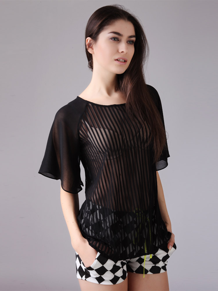 Women Sheer Blouses Black Patchwork Striped Tees Transparent Sexy ...