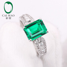 1.95ct  Emerald  & 0.27ct Natural Diamonds 14K White Gold Fine Jewelry Free Shipping