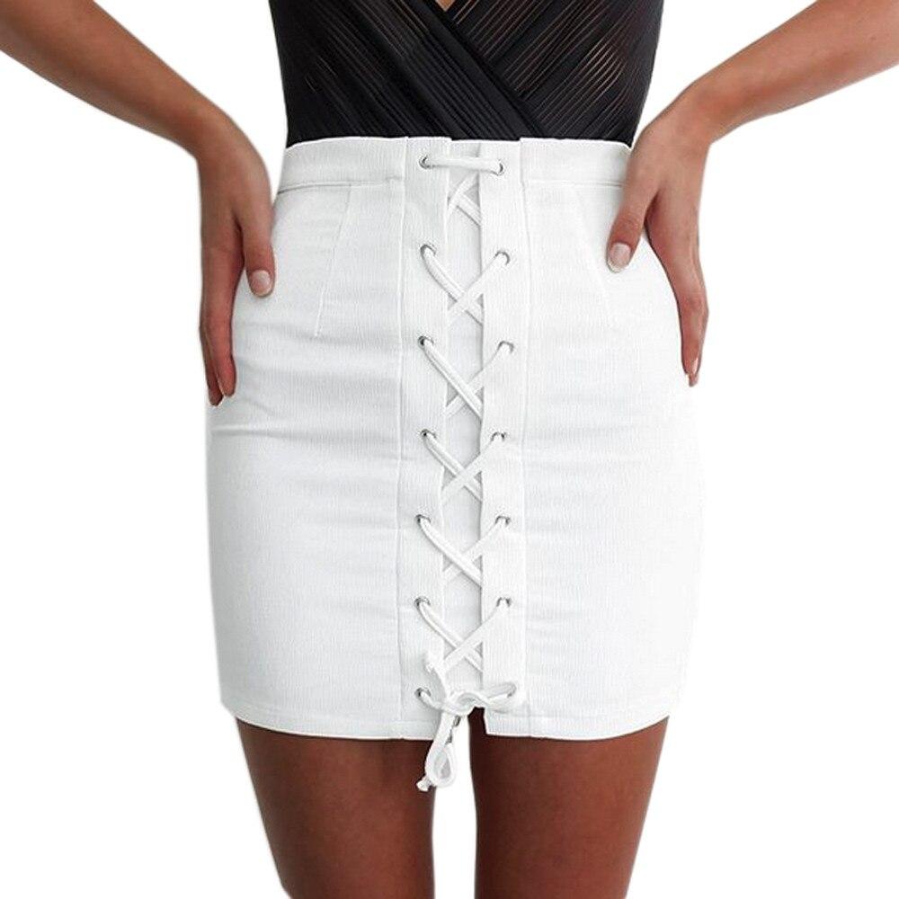 White Jean Skirts - Skirts