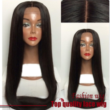 2015 Fashion Brazilian Hair Straight Wigs Synthetic Lace Front Wigs Silky Middle Part Black Heat Resistant Synthetic Hair Wigs