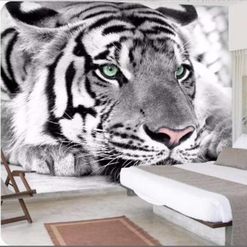 Beibehang Custom Wallpaper Gray Animal Tiger Mural Bedroom 3d Living Room Sofa TV Background Walls Home Decoration 3d Wallpaper