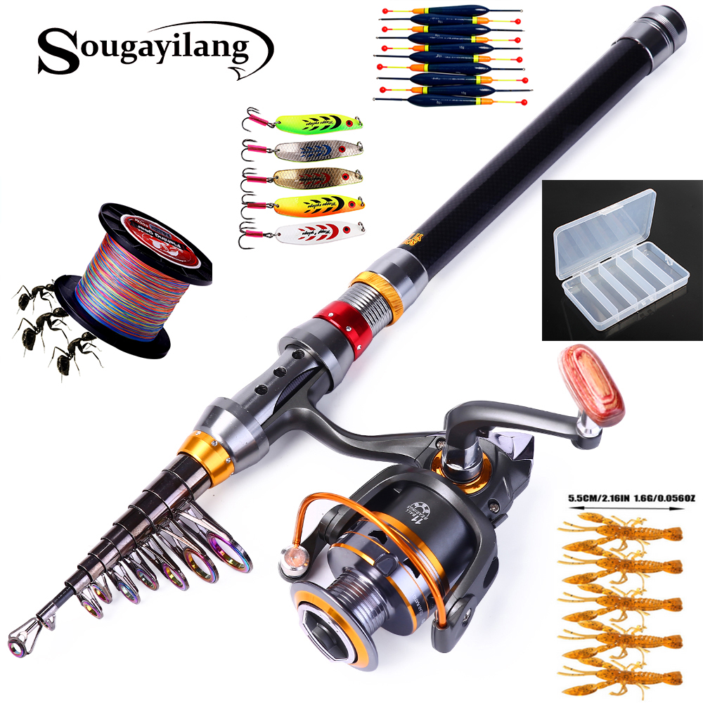 Sougayilang Telescopic <font><b>Fishing</b></font> Rod Spinning <font><b>Fishing</b></font> Reel PE <font><b>Fishing</b></font> Line Hook Lure Box As Gift Full Kit Rod Reel Line Combo Set