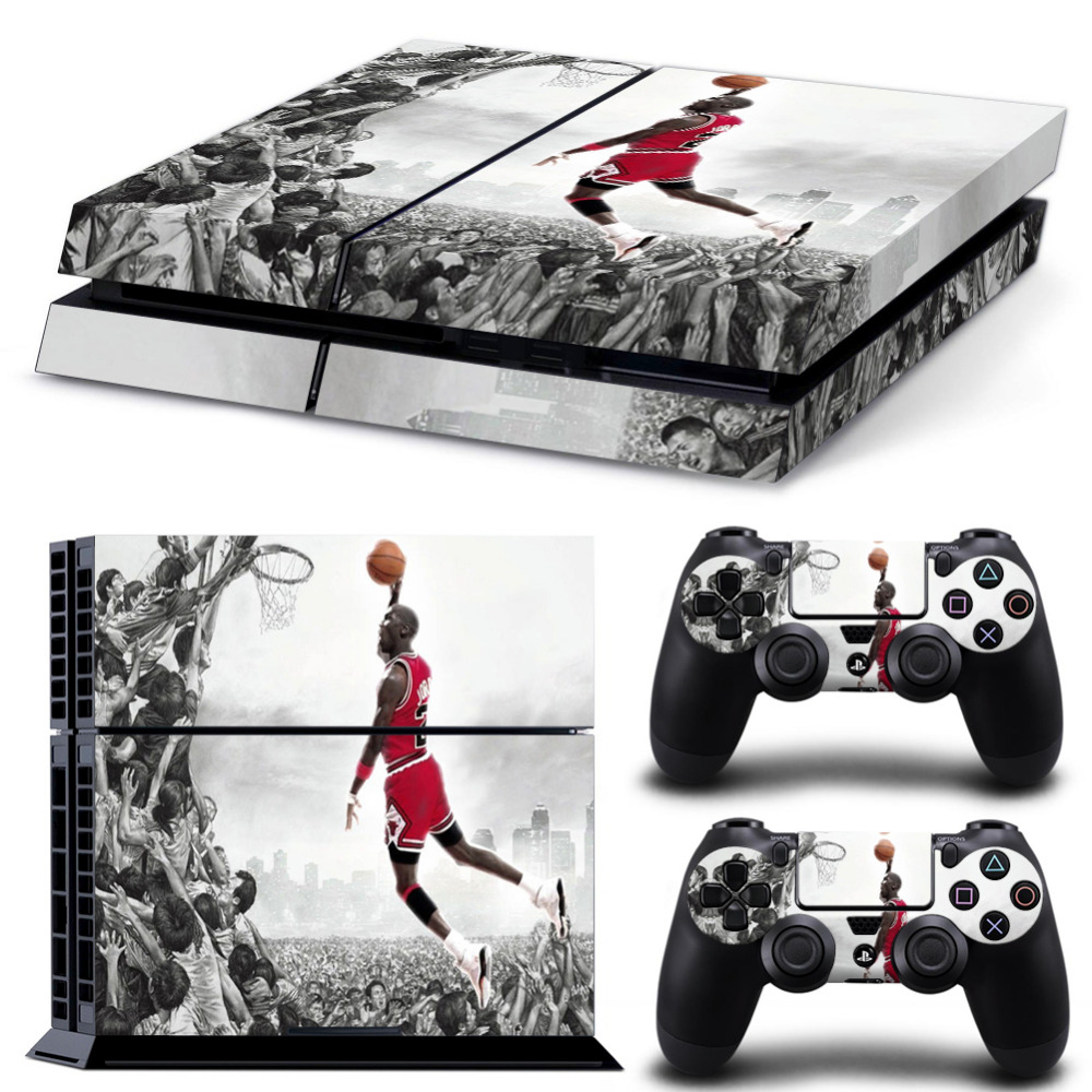 OSTSTICKER Flying Man Style Protective Vinyl Skin Stickers for Playstation 4 PS4 console and 2 controller