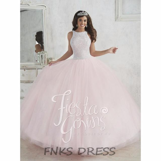 Light Pink Vestidos Quinceanera Pérolas Spaghetti Strap vestido de Baile Doce 16 vestidos vestidos vestido de debutante vestido de 16 años QD15