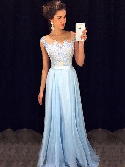 Illusion Neckline Blue Lace Applique Plus Size Prom