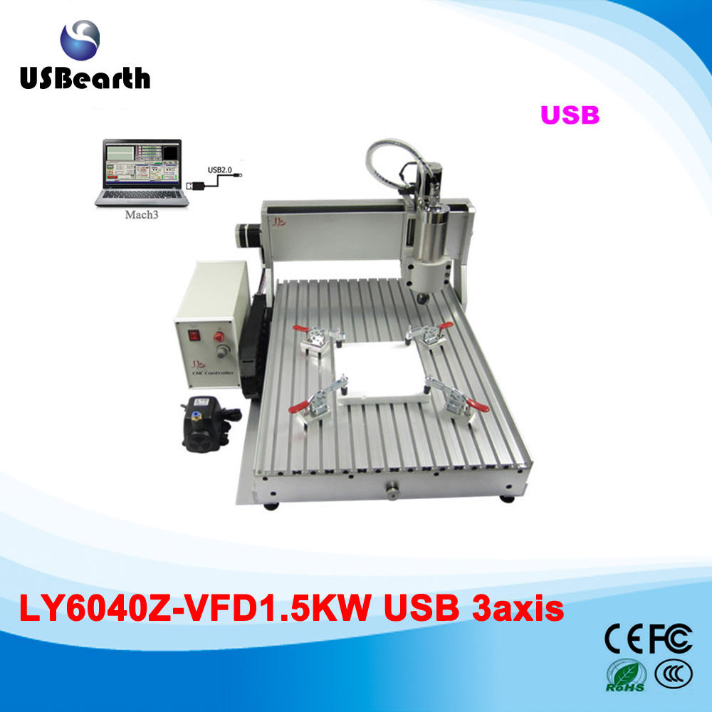 3 axis cnc engraving machine 6040 Z-VFD 1500W cnc spindle mini cnc milling machine with USB port, Russia no tax 6040z vfd 2 2kw usb 4axis 6040 cnc milling machine mini cnc router with usb port russia free tax