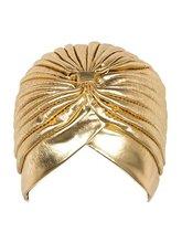 2016 golden turbante hijab Turban Headwrap hat cap women shiny high Quality Chemo Bandana and muslim Indian Cap G-205