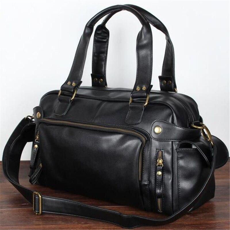 High Quality 2017 Mens Travel Bags Vintage Mens Leather Bag Men Messenger Weekend Duffle Bags Travel Shoulder 1pcs/Lot