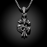 Retro skeleton man cross stainless steel pendant necklace