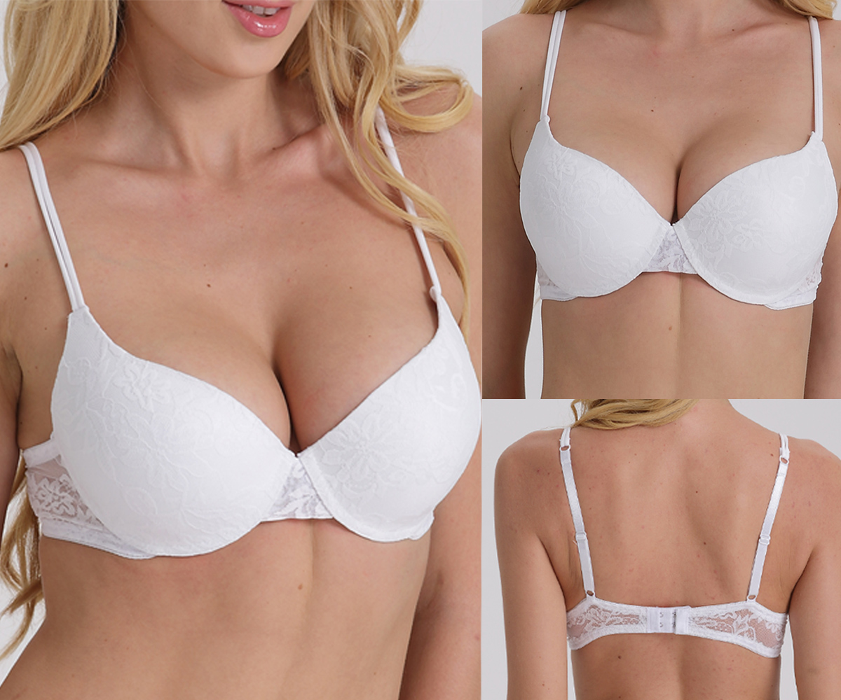 239bdad3e68 Lady Wedding Multiway Lace Underwear Push Up Bra Invisible Transparnt  Strapless Halter Neck Clear Back Bra ...