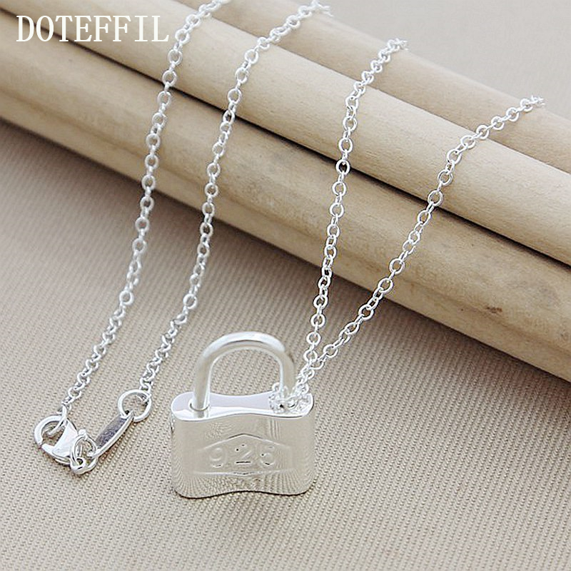 Fashion 925 Silver Keys Squer Locks Pendant Necklaces For Women With Charm  Necklace Jewelry 4a0477f32cae