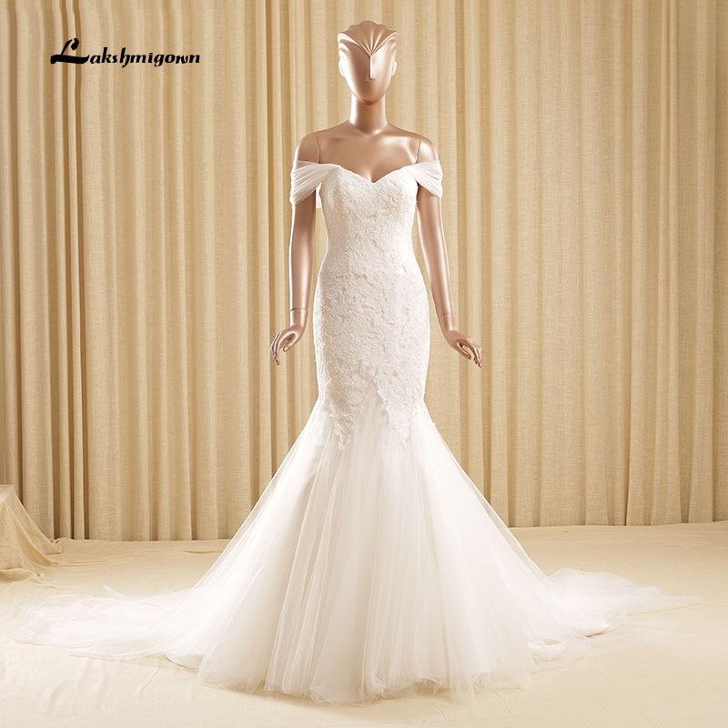 Cheap White Ivory Wedding Dresses Mermaid Lace Appliques: Modest Appliques Lace Mermaid Wedding Dress 2018