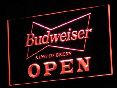 a113 OPEN Budweiser Beer NR Pub Bar LED Neon Sign with On/Off Switch 7 Colors to choose