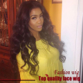 Cheap Body Wave Wig Black Natural Bouncy Middle Part Synthetic Lace Front Wigs 180% Density Heat Resistant In Stock FastShipping