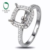 8mm Cushion Cut 18K White Gold Natural Diamond Semi Mount Ring Settings free shipping
