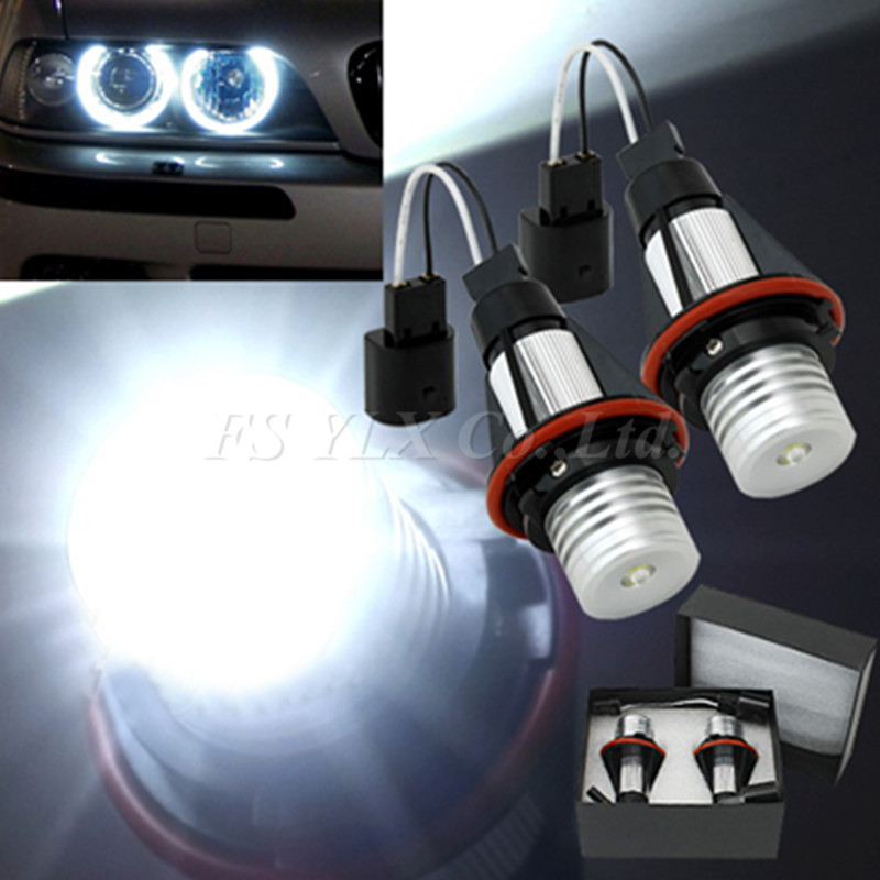 FSYLX 1 set LED Angel Eyes LED Marker voor BMW E39 xenon wit led angel eye halo licht VOOR BMW E53 E60 E61 E63 E64 E65 E66 E87