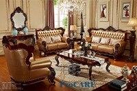 Мебель живущей комнаты Соф натуральной кожи золотистого желтого цвета твердой древесины США красная Установленная с журнальным столиком д