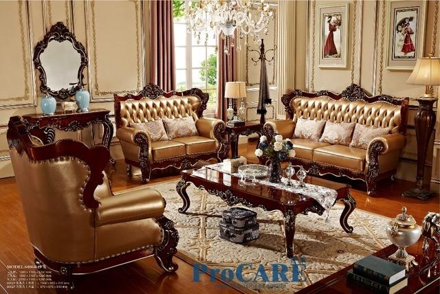 US $6210.0 |USA rot massivholz goldene gelb echtem leder sofas set  wohnzimmer möbel mit holz oberfläche der kaffee tisch in china 6806 in USA  rot ...