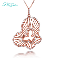 l&zuan 925 sterling silver 1.1ct Stone White Butterfly Pendant Fashion Jewelry necklace With Silver Chain For Women As Gift