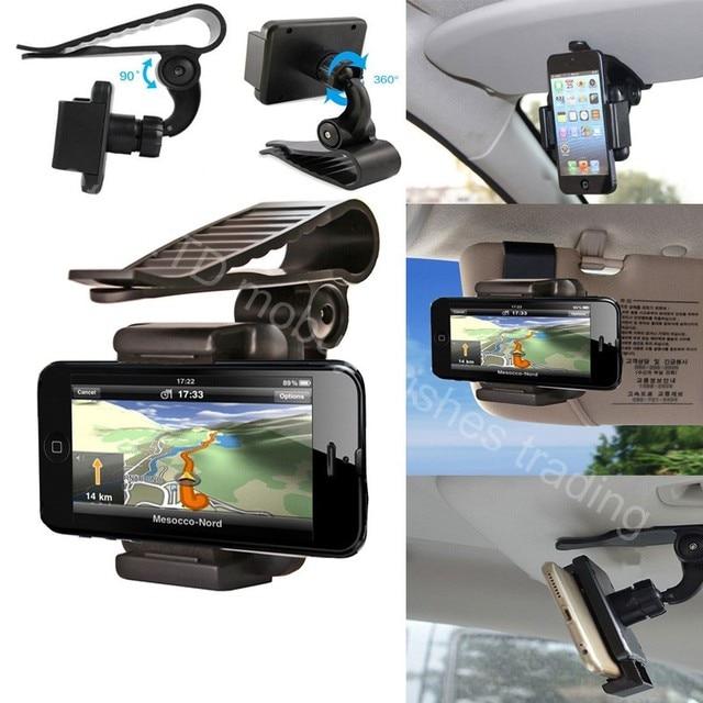 Car Sun Visor Shade Roof Shield Mobile Phone Holder 360 degree Rotating  Adjustable Clip Cradle for Cellphone iPhone Samsung LG c9468baee7f