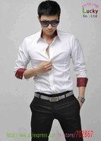 мужская мода роскошные стильные с длинным рукавом тонкий подкладка заплатанные шелк горячая корея сплошным цветом повседневная одежда рубашки sh05