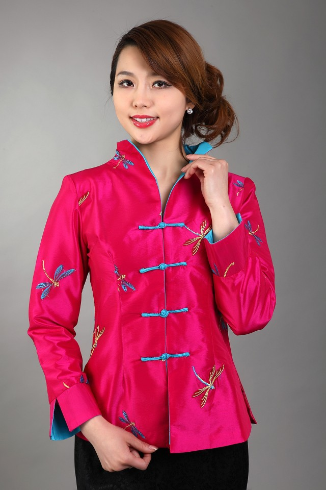 Free Shipping Hot pink New Chinese Womens Silk Satin Jacket Spring Embroidey Flowers Coat Size S M L XL XXL XXXL MN 0077in Basic Jackets from Womens