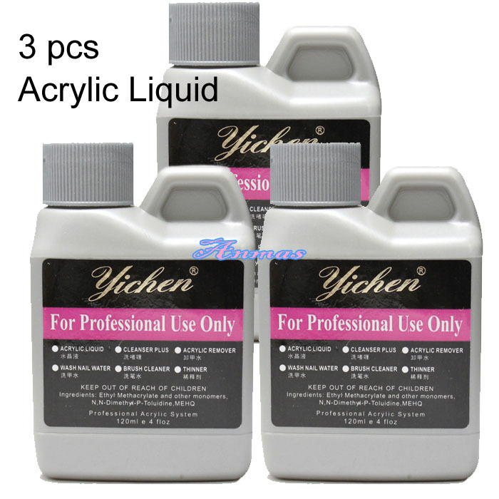 3 Pcs Acrylic Liquid Set False Acrylic Nail Art 120ml Salon ...