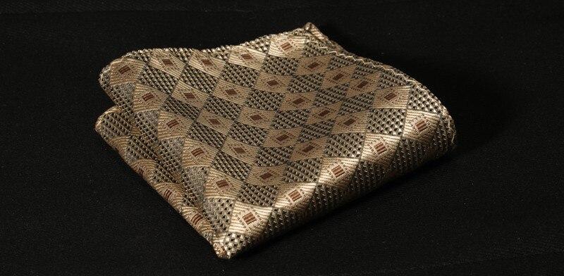 TC3038D8 Burlywood Gold Check Silk Mans Tie Neckties Hanky Handkerchief Set