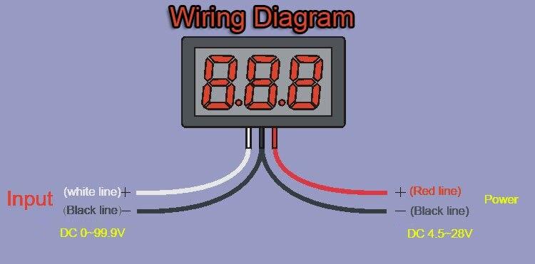 10pcs 3 wire dc0 100v dc0 99 9v red led digital display voltage rh aliexpress com wiring digital voltmeter wiring diagram digital voltmeter