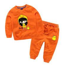 kids clothing set sports brand cotton sweater pants two pullover trousers piece long sleeve o neck orange fashion autumn winter