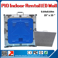TEEHO P10 indoor led video wall 64x64cm 25by 25inches P10 indoor 3528smd full color panel cabinet 6pcs a lot with 1pcs road case