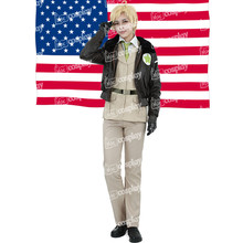 Miccostumes Anime Hetalia Axis Powers América Cosplay Ropa de Fiesta de Halloween Costume-Alfred F. Jones Uniforme Militar