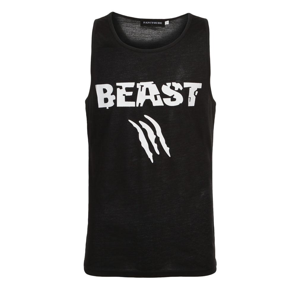 Beauty and Beast Couple Vest Men Bodybuilding Fitness Tank Workout Print Stringer Sportswear Undershirt