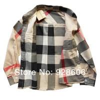 высокое качество детская одежда бренд хлопка с длинным рукавом красивый мальчик бежевый клетчатые рубашки дети с длинным рукавом 1 шт