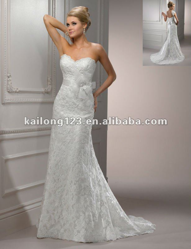 Delicate Beaded Lace Tulle On Satin Sweetheart A line Chapel train ...