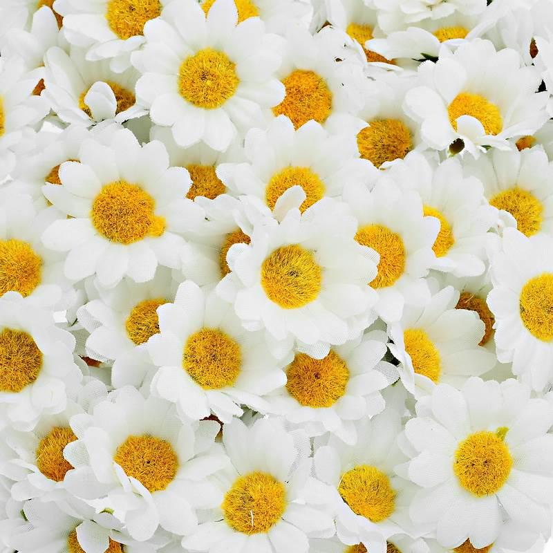 О 100 шт. Искусственные цветы свадьбу Главная цветы для украшения шелковые мини белый цветок ромашка (без стержня) 4 см