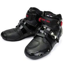 Мотоцикл Сапоги PRO-БАЙКЕР Высокого Лодыжки Гонки сапоги БАЙКЕРЫ кожаные гонки Мотокросс Мотоцикл сапоги для Верховой Езды Обувь для женщины мужчины обуви