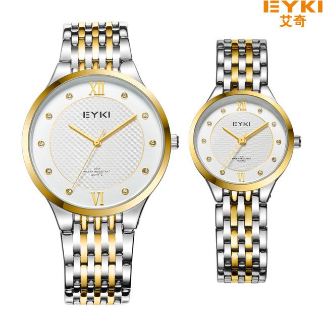 Eyki Marca de luxo Homens de Negócios Relógio de Quartzo Algarismos Romanos relógios de Pulso de Aço Inoxidável Mesa Masculino Vestido Relógio Relojes Hombre