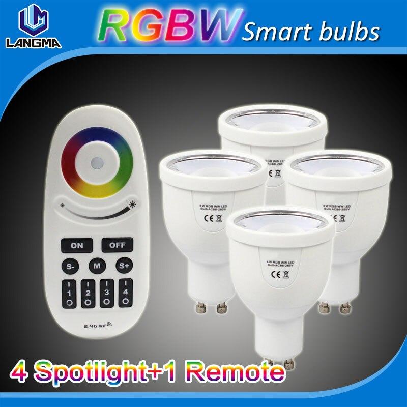 Mi Light 110V 220V 4W RGBW GU10 LED Spot 2.4G RF Wireless Smart Dimmable Group Bulb Lamp Touch Remote