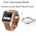 V-MORO Genuine Leather Camel Bracelet Strap Replacement Band With Metal Frame For Fitbit Blaze Fitness Watch