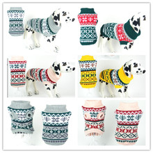 Free shipping pet dog winter clothes apparel sweater Turtle neck classic pattern snow Mixed size 30pcs /lot