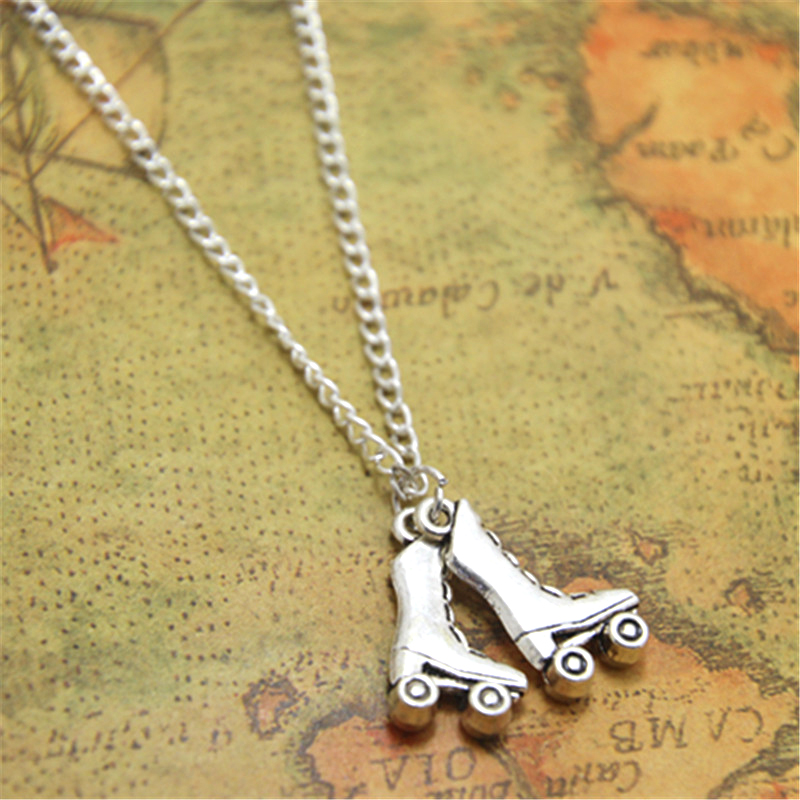 12pcs/lot Roller Skate necklace Roller Skate Charm pendant Roller Derby Jewelry Roller Skating Gift