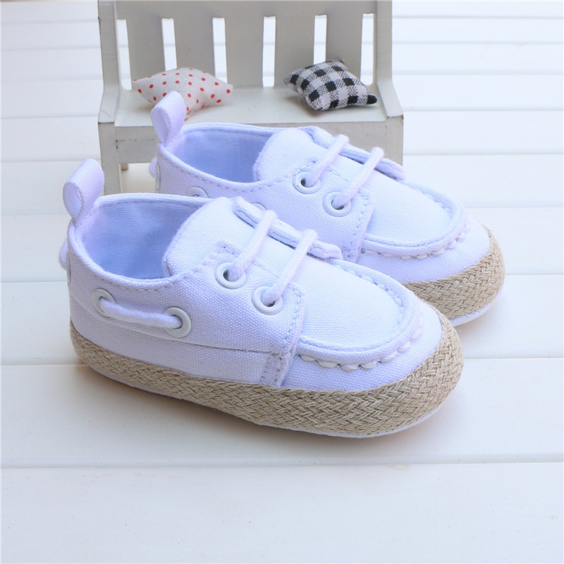 New Spring Autumn Toddler First Walker White Baby Shoes Boy Girl Soft Sole Crib Lace Canvas Sneaker Prewalker 0-18 Months 2016
