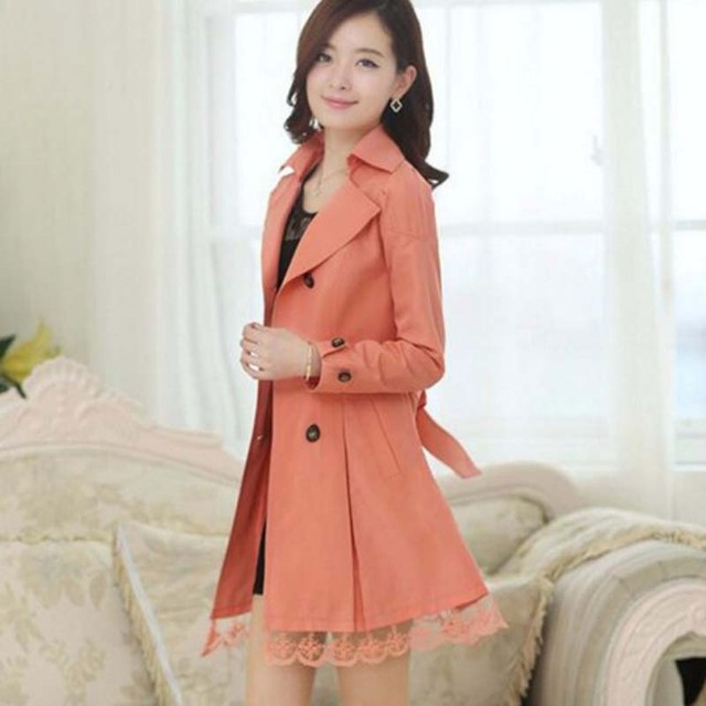 Double Breasted Trench Coat with Lace Trim