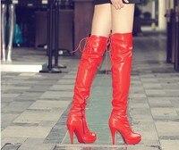 женщины в обувь над бедро высокая Cole полиуретана сапог на блок большой размер 34 - 43 Seal resin обувь красный черный белый